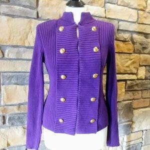 NWT Chaps Purple Cardigan Sweater